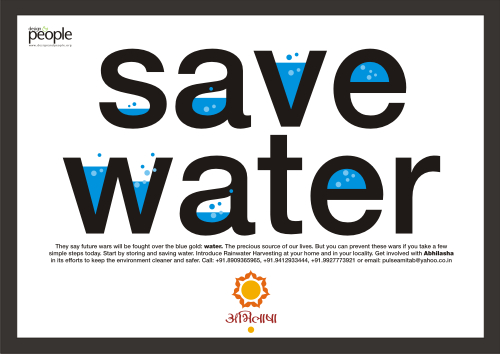 Save Water Poster of Abhilasha: Voluntary Action for Sustainability