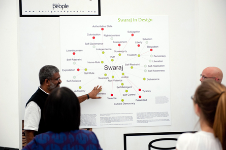 Sethu Das explains Visual Thesaurus developed by Design & People for the word 'Swaraj' during 'Re-Designing the East: Political Design in Asia and Europe' symposium  at the Württembergischer Kunstverein at Stuttgart, Germany. (Photo: Sung Hyun Sohn, Activism of Graphic Imagination, South Korea)